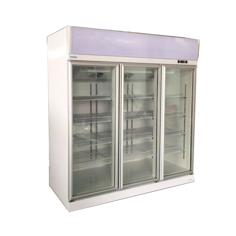 Heavy duty commercial 3 glass door refrigerators freezer supermarket equipment