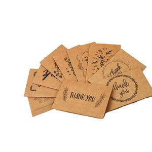 Hot Sale Natural Style letters Small Kraft Paper Thank You Card for All Occasions