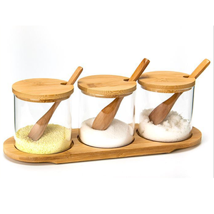 Kitchen Canister With 3pc Spices Glass Storage Sugar Jar Food Storage Containers with Wood Lids and Wooden Spoon