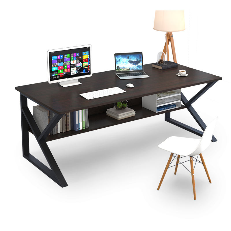 Multifunctional modern home office double layer storage large computer table