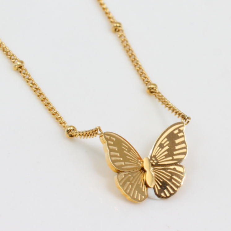 Dainty Women Jewelry Butterfly Charm Pendant Wholesale Customize Personalized 18K Gold Plated Stainless Steel Butterfly Necklace