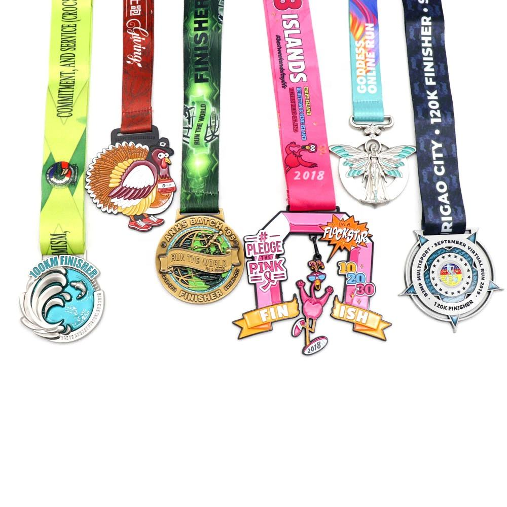 China cheap Custom metal design you own Marathon Running zinc alloy 3D gold metal award medal with sublimation ribbon