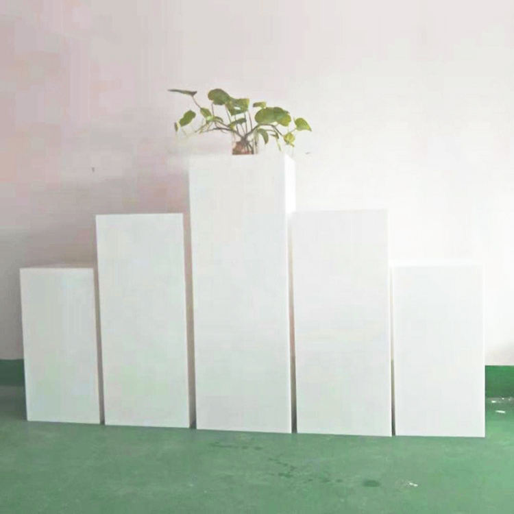 acrylic white square stand flower stand wedding pillar column for event wedding decoration pedestal cylinder