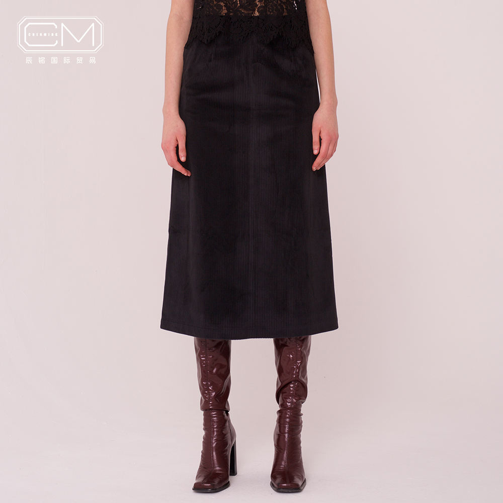 Autumn winter corduroy a-line office lady midi pencil windproof skirt with zipper back