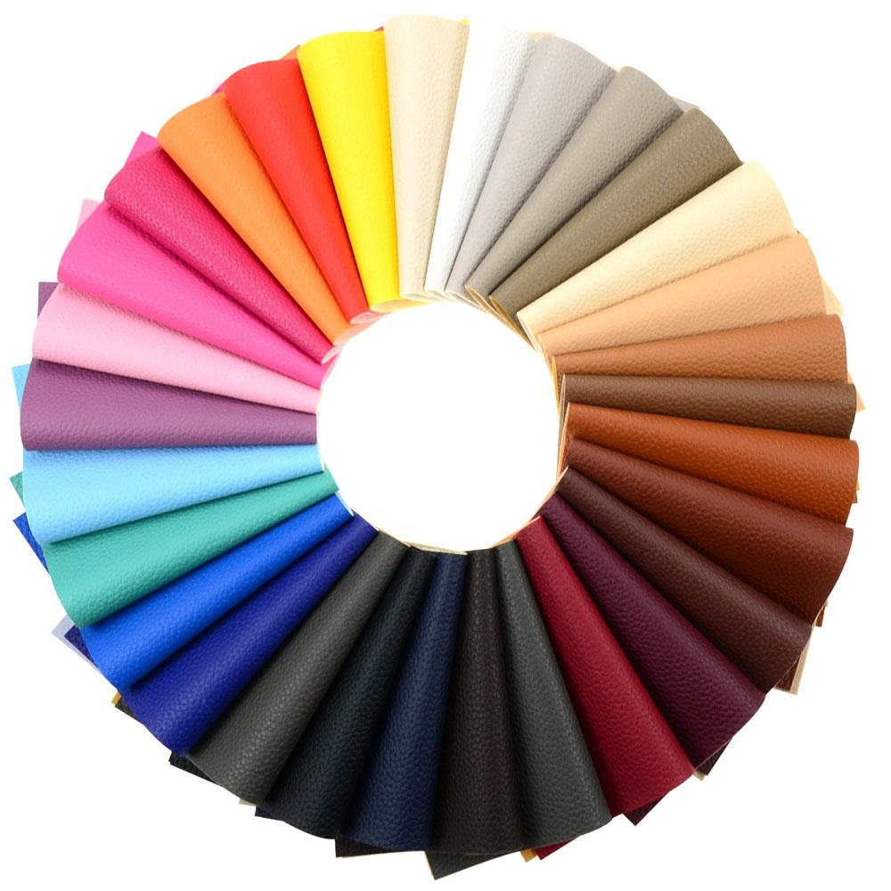Solid Color A4 Litchi Grain Texture Faux Leather Fabric Sheets Cotton Back for Earrings Hair Bows, Headband, Wallet Making