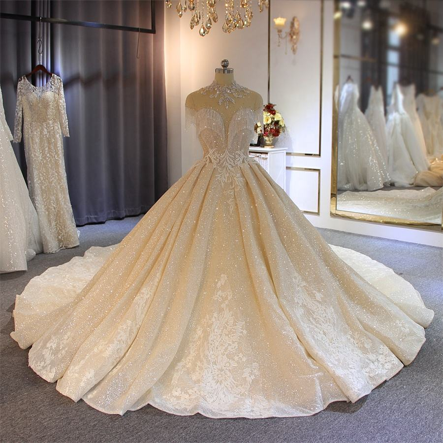 Sparkling Long Train Wedding Gown 2019 With Hang On Crystal Champagne Color Bridal Dress