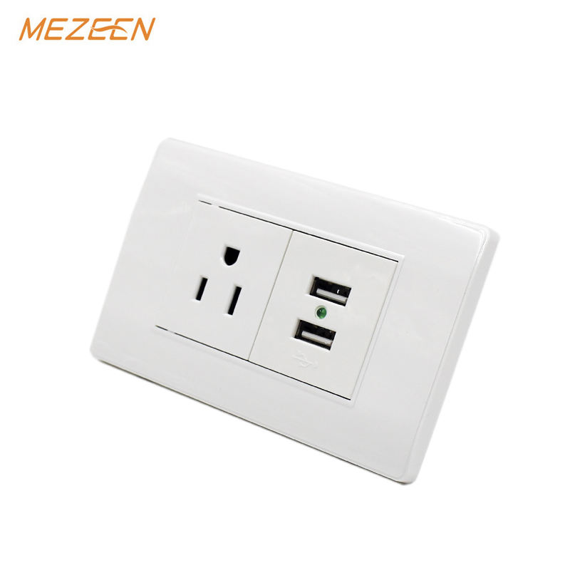 ขายส่ง 110V 15A 50-60Hz 3 PIN SOCKET 2 USB Outlet SOCKET