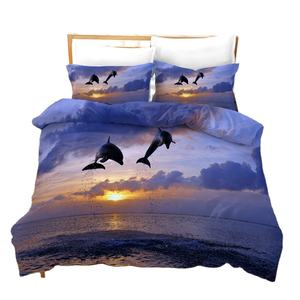 Home Textile 3D Digital Prinit Dolphin Whale Duvet Quilt Cover Bedding Bed Sheet Set for Bed Room