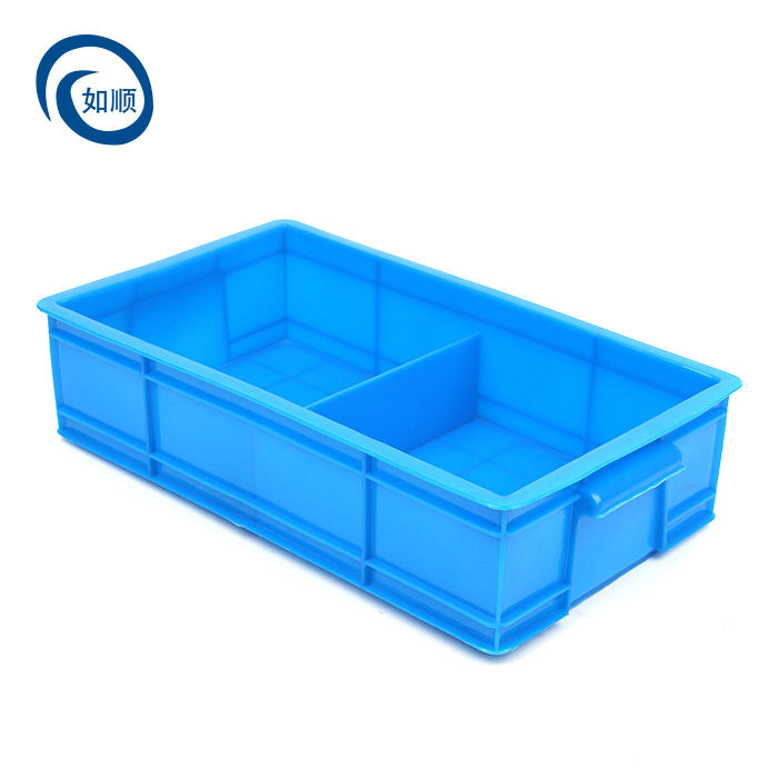 Factory hot sale Two septum plastic turnover box moving crate