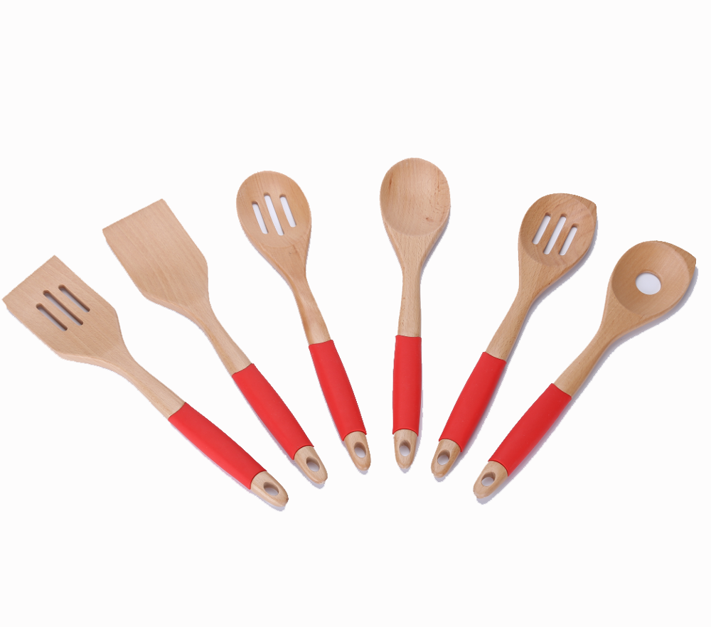 OEM ODM Wooden Kitchen Tool Housewares with Handle Set Utensil 6Piece Fashion Wooden Bamboo Kitchen Cooking Tool Set