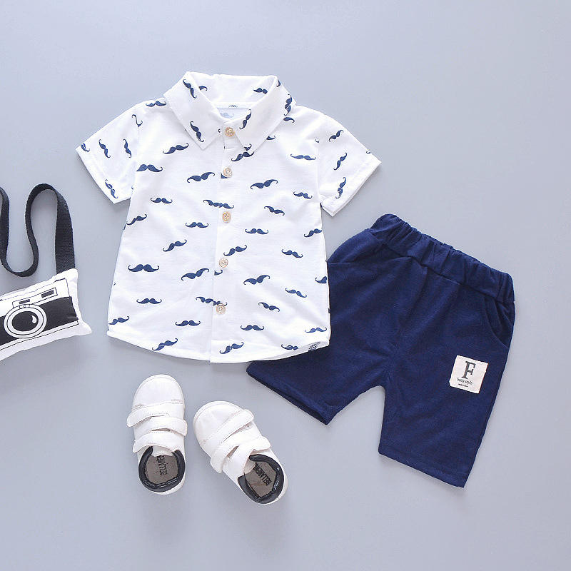 Hao Baby 0-4 Years Old Children Short Sleeved Clothing Kids Set Boy Suit