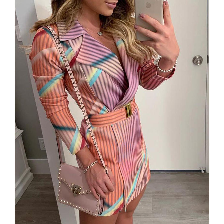 Contrast Color Striped Lapel Neck Long Sleeve Dress For Women