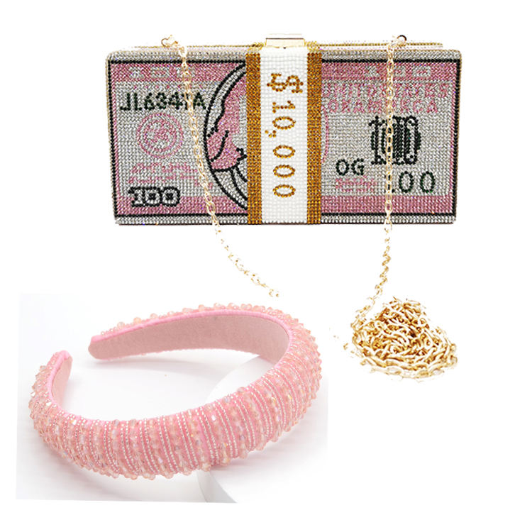 rhinestone money bags with headband sets purse for women fashion design 2020 new bling money purse rhinestone headband