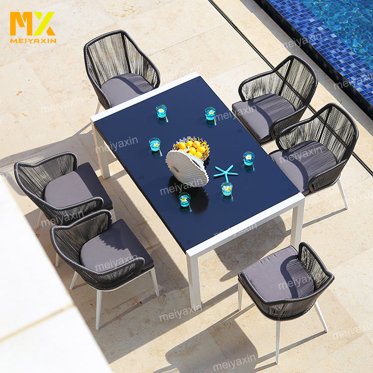 North America set de table rond weatherproof synthetic rattan wicker outdoor patio furniture