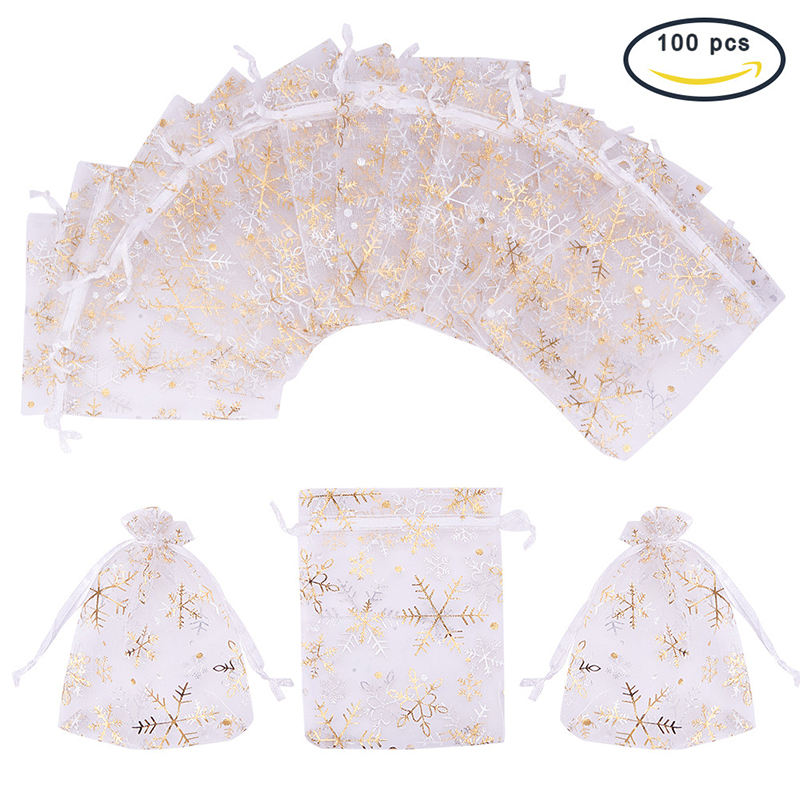 9X12cm Snowflake <span class=keywords><strong>Organza</strong></span> Bags Candy Jewelry Packaging Bags Wedding Decoration Christmas Gift Bag Pouches