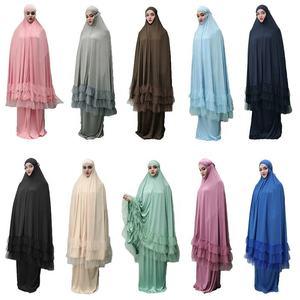 2 piece women prayer hijab dress dubai muslim khimar jilbab overhead abaya
