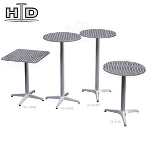 Foldable round dining garden outdoor lightweight bar cast aluminum folding table