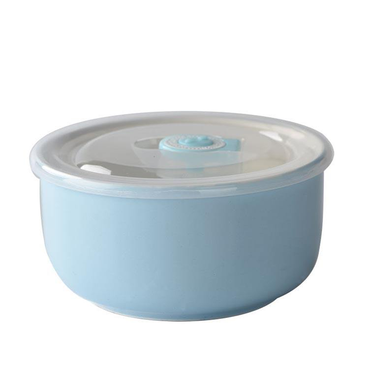 Home Kitchen using dinnerware ceramic fresh bowl with lid, ceramic serving bowls with handle