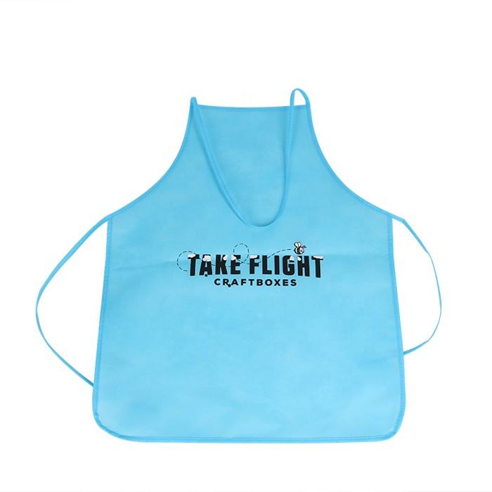 Colorful different size non woven material kids disposable kitchen apron for promotions with custom logo