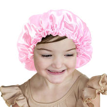 New Kids Bonnets With Drawstring Adjustable Satin Double Waterproof Shower Cap Hair Care Hat