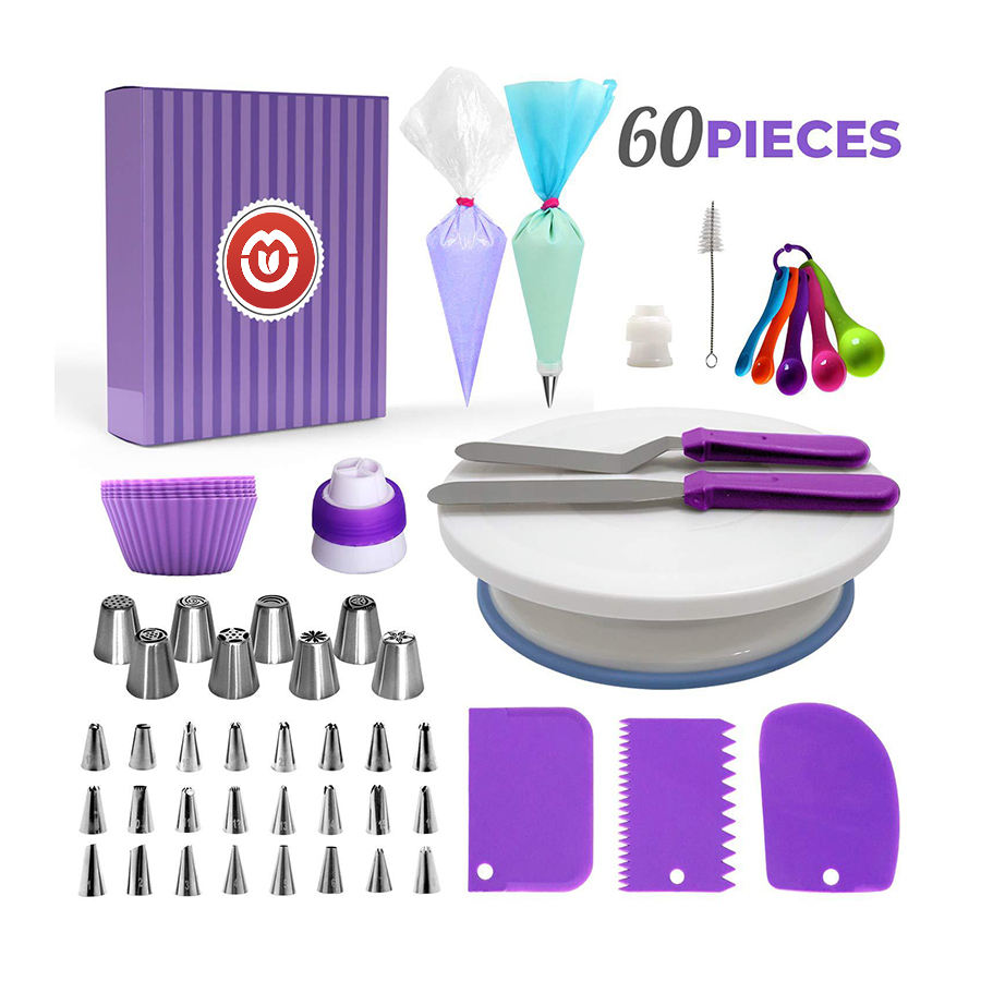 purple Cake Decorating Supplies Kit / 60pcs Set 1 Cake Turntable Stand 2 Icing Spatulas 24 Icing Tips 1 Cake Server 11 Pastry