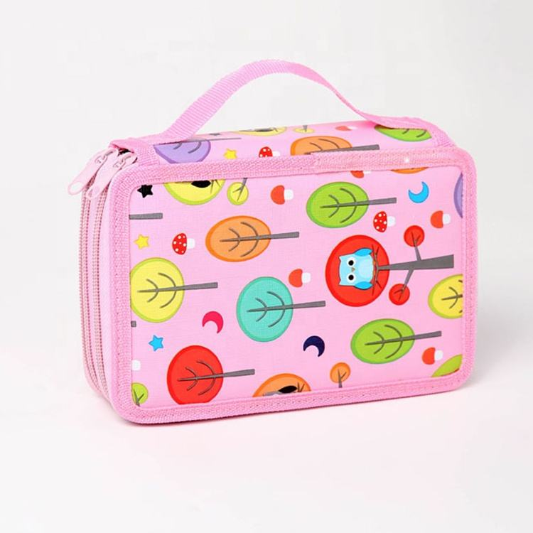 High Quality PU Pencil Case color/gel pencil pocket bag large capacity canvas desk organizer back to school stationery for girls