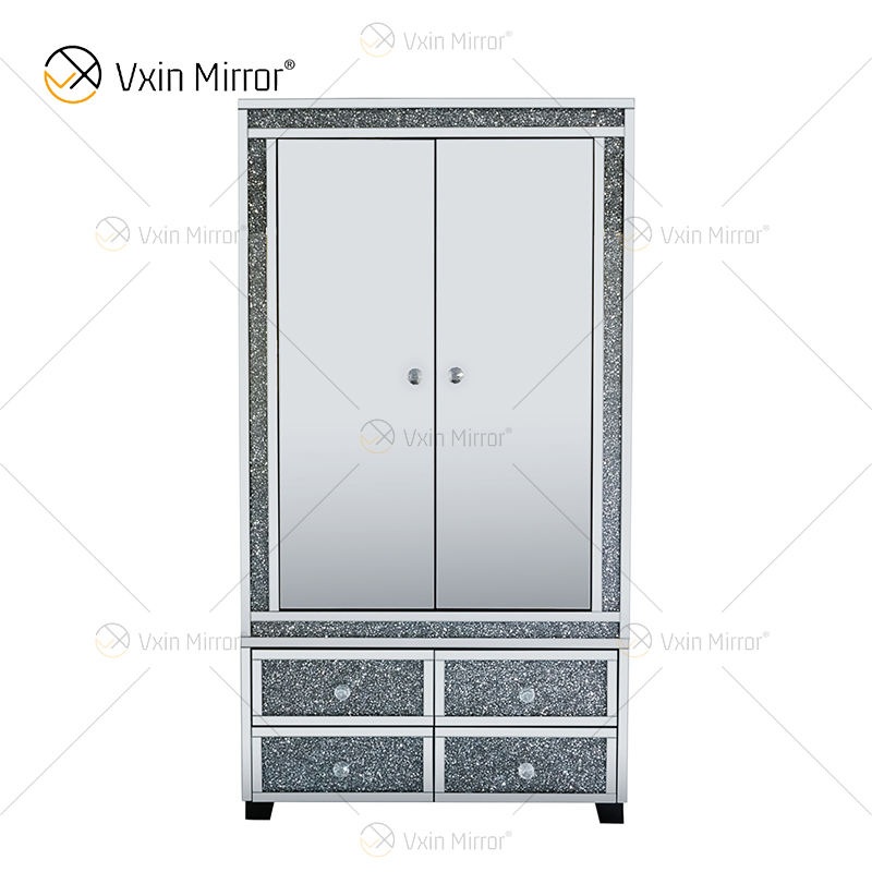 Modern WXF-040 drawer 2 door large sparkle mirrored crystal glass diamond wardrobe