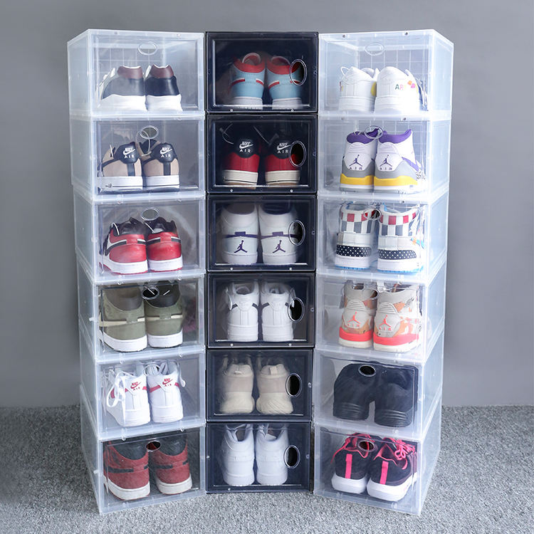 TL5689 tasparent shoe box plastic storage shoes organizer spacesaving