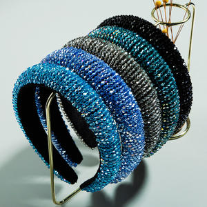 Luxury Bling Headwear Hair Accessories Wide Sparkling Diamond Hair Bands Shining Blue Crystal CZ Headbands For Women