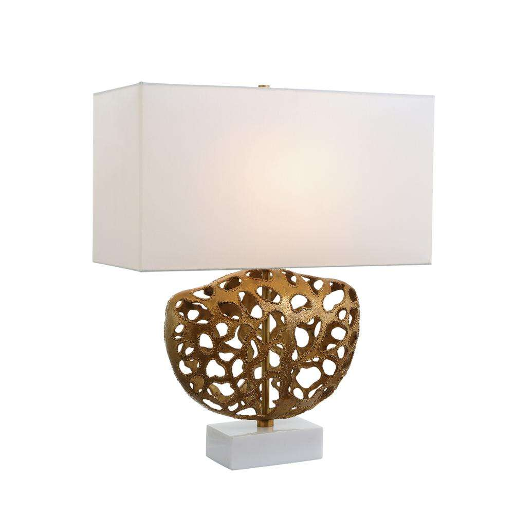 Modern Style Living Room Lost Wax Hollowed Out White Fabric Rectangular Shade Marble Classic Table Lamp
