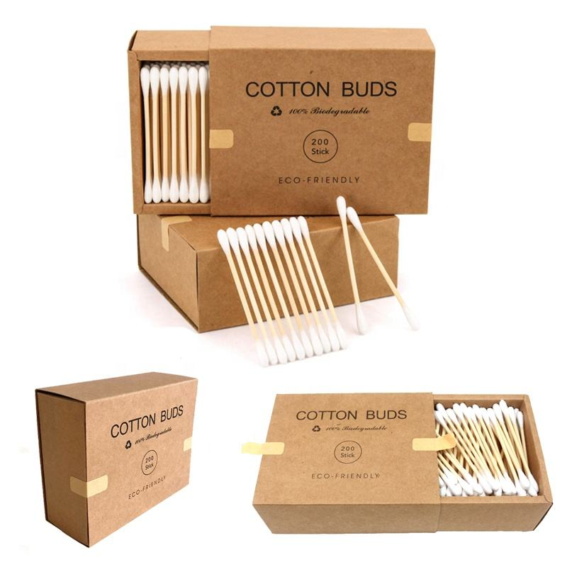 2020 disposable bamboo cotton swab in paper carton case