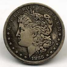 Copper and silver dollar  1888 US silver dollar can blow silver dollar Moore coin Morgan coin