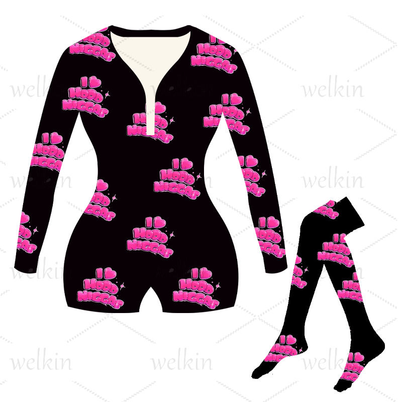 welkin adult custom logo wap hennessy pajamas adult bodysuits onesies with smatching socks for women
