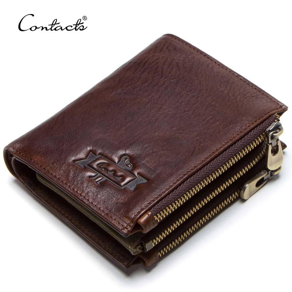 contact's dropship wholesale genuine leather short style new fashion secret compartment multi card men's leather zipper wallet