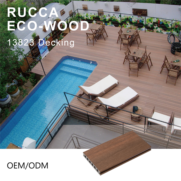 Rucca 138*23Mm WPC Wood Plastic Composite Flooring Outdoor Swimming Pool Co Extrusion Decking