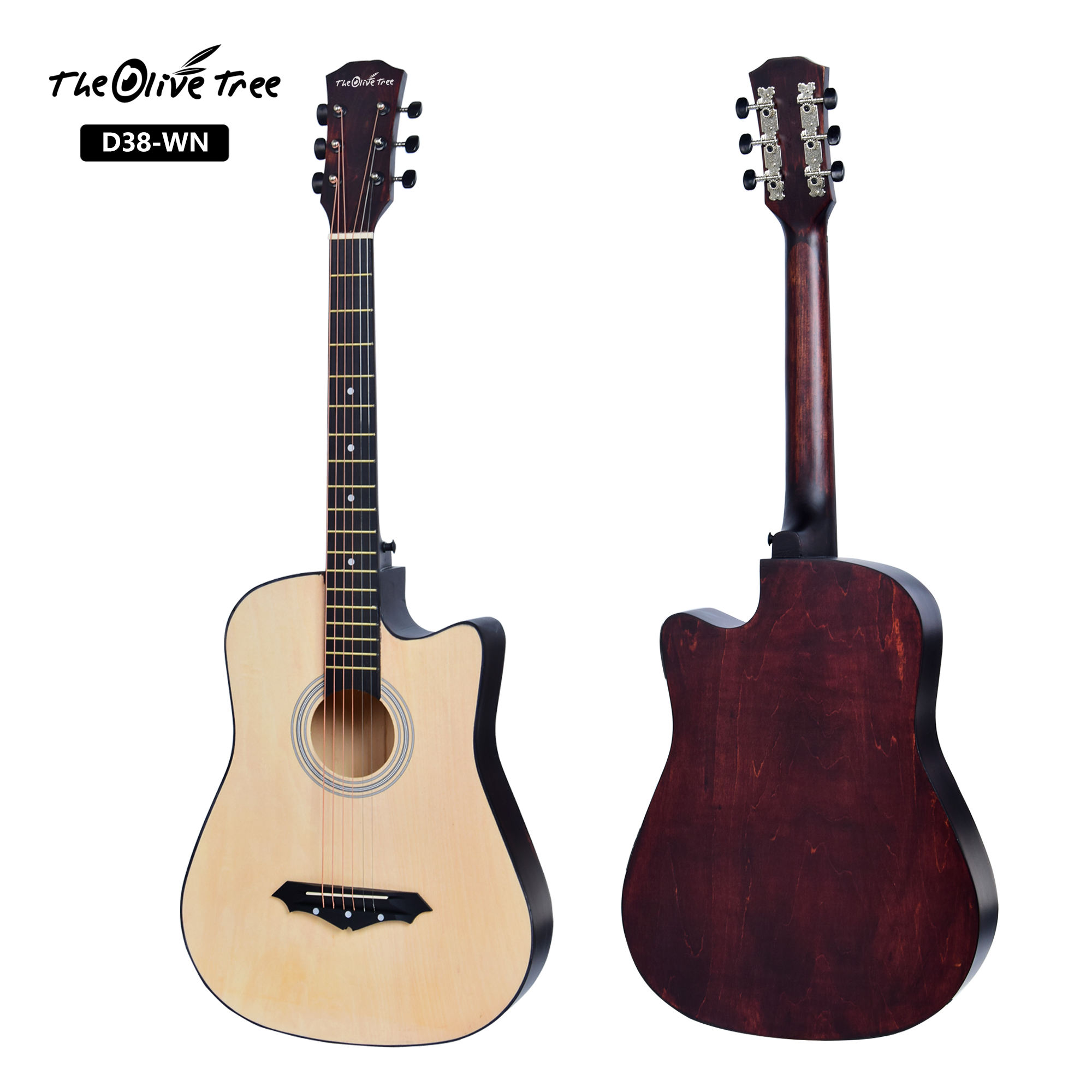 Hot selling china made cheap price full basswood body acoustic guitar with truss rod for beginner