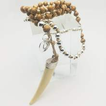 Wholesale Custom Handmade Knotted Wooden Beaded Silver Horn Enamel Big Ivory Necklace For Women
