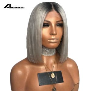 Anogol Black Ombre Silver Gray Synthetic Lace Front Wig For Women Short Straight Bob Wigs High Temperature Fiber Middle Part