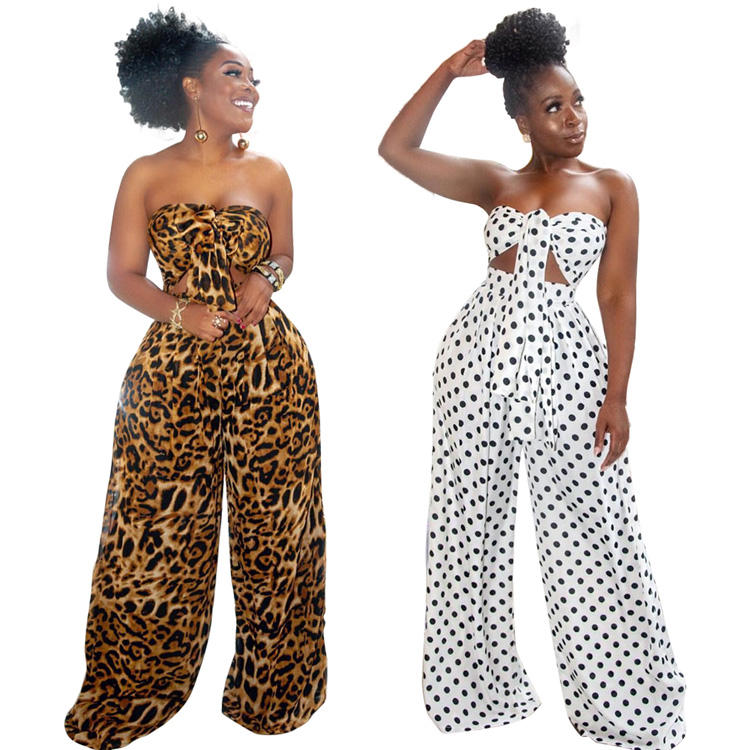 Dot print sexy crop top and wide leg pants beach outfits women plus size two piece set