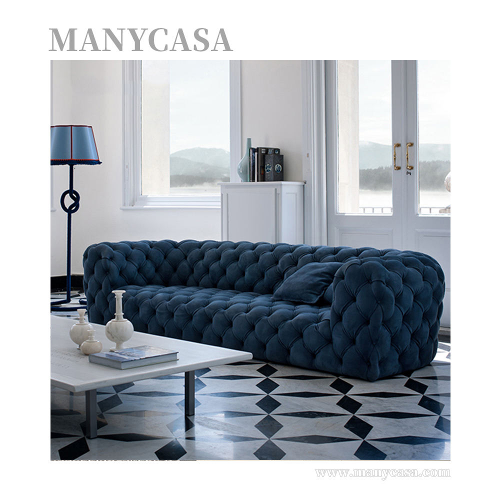 New American Style Sofa Sectional Buckle Velvet Fabric Lounge Sofa Removable Corner Couch