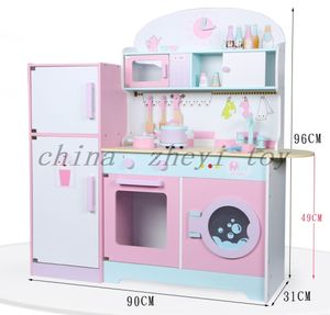 Factory direct sale children's toys wooden refrigerator kitchen toys Wholesale montessori boy girls cooking learning toys china