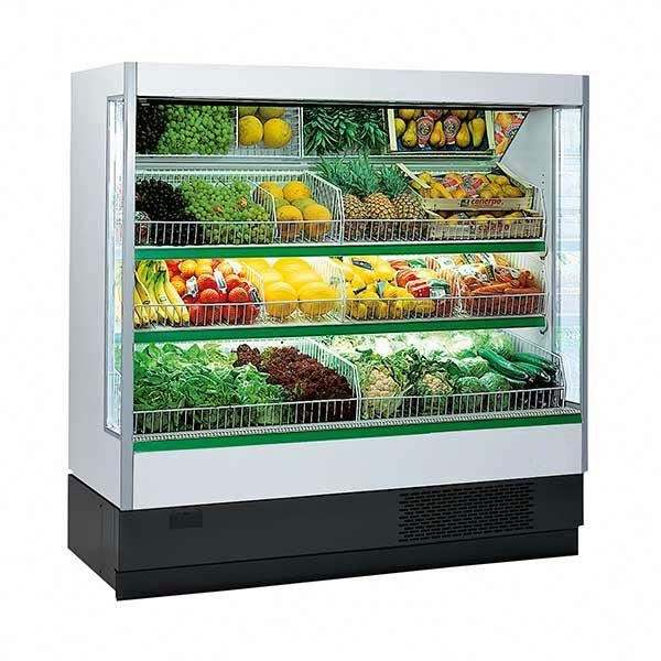supermarket multi decks open fronted wall refrigerator for fruit and vegetable display