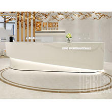 New Arrival Curved High Glossy Wood Beauty Spa Front Desk Reception Counter Modern for Salon