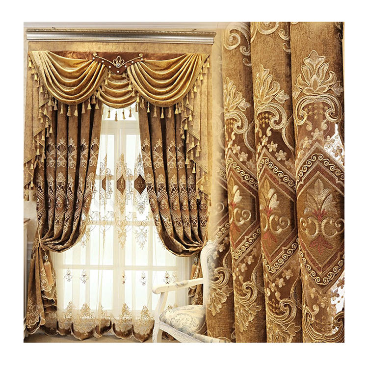 ready made elegant European valance set embroidery fabric living room home curtain window