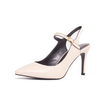Women Elegant Sexy High Heel Fashion Dress Ladies Buckle Strap White Point Toe Pump Shoes