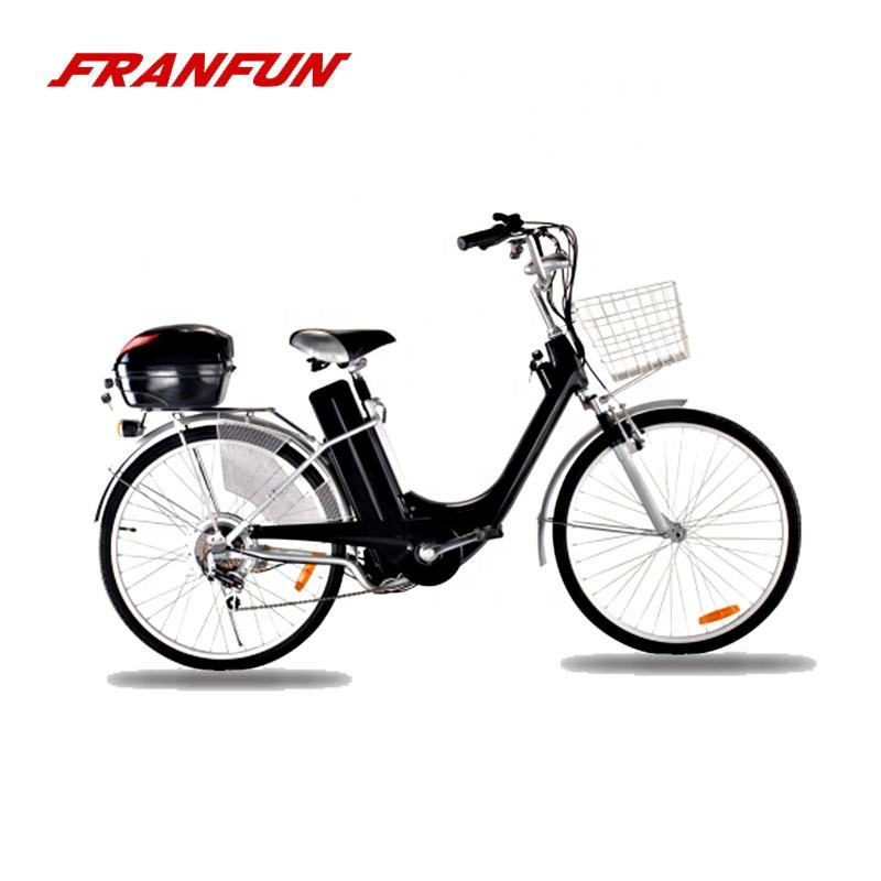 Retro style economy city ebike 26'' battery bicycle with ABS parts covered and rear box for storage