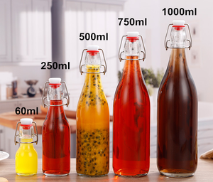 Wholesale Customized Recycled Clear Round Classic Swing Top Glass Bottle 1L with Clip Top Stoppers