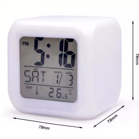 2019 Fashion LED Electronic Digital Alarm Clock Thermometer Bright Cube 7 Colors Night Children Alarm Clock