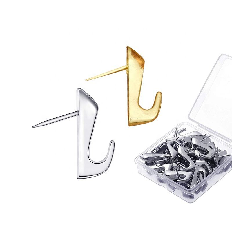 20lb silver gold color 50pc Pin Hooks Push Pin Hangers Picture Hanging Nails for Home Office Fabric Wall Wooden