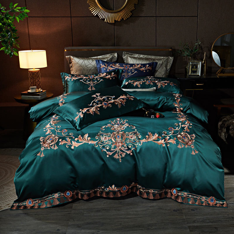 luxury advanced silk fabric cotton embroidery hotel bedding set bed sheets bed cover sheet